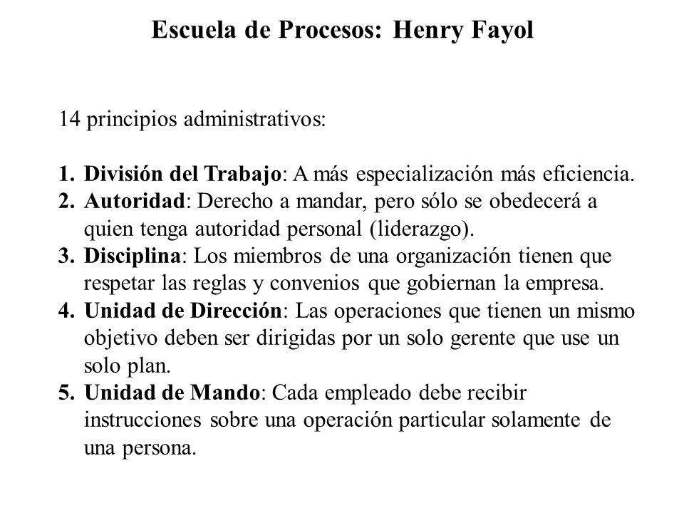Escuela de Procesos: Henry Fayol 14 principios administrativos: 1.División del Trabajo: A más especialización más eficiencia. 2.Autoridad: Derecho a m