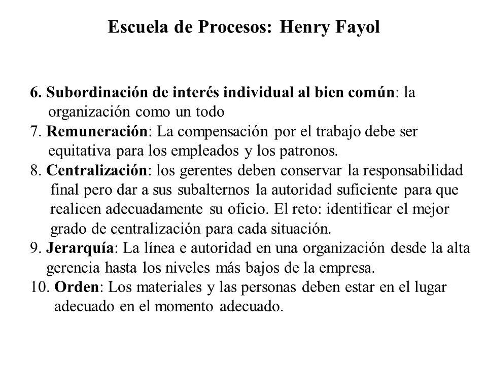 Escuela de Procesos: Henry Fayol 6. Subordinación de interés individual al bien común: la organización como un todo 7. Remuneración: La compensación p