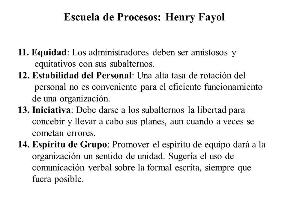 Escuela de Procesos: Henry Fayol 11. Equidad: Los administradores deben ser amistosos y equitativos con sus subalternos. 12. Estabilidad del Personal: