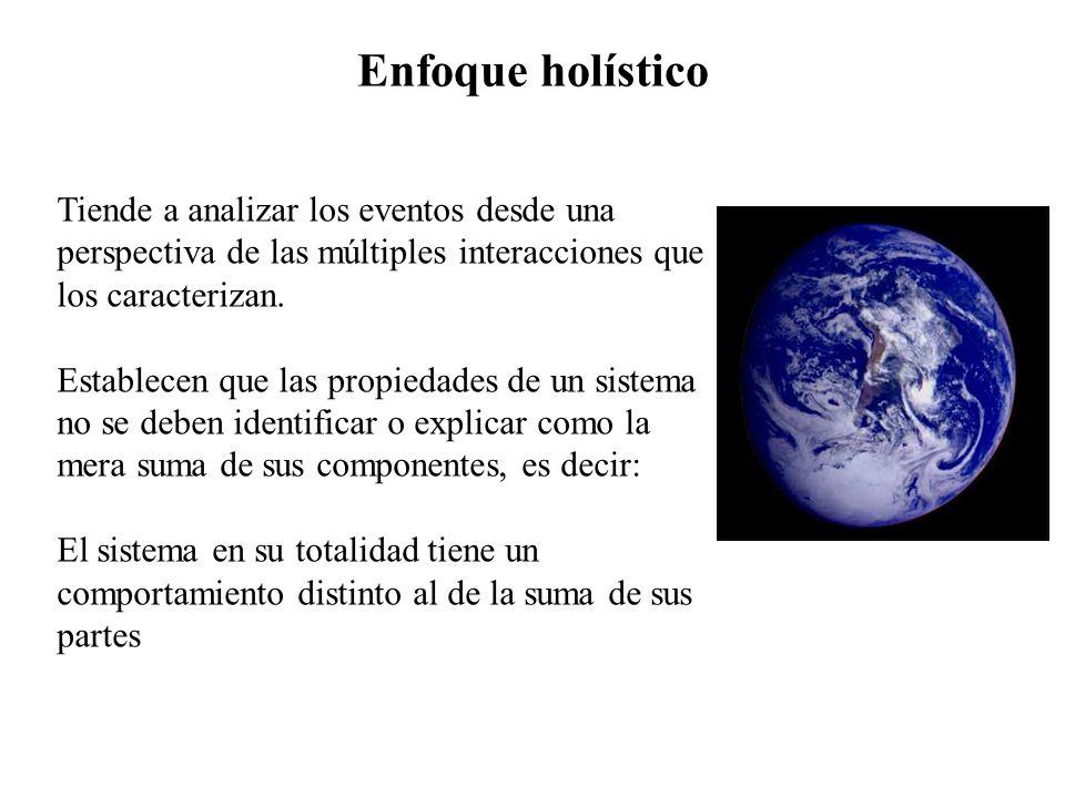 Enfoque holístico Tiende a analizar los eventos desde una perspectiva de las múltiples interacciones que los caracterizan. Establecen que las propieda