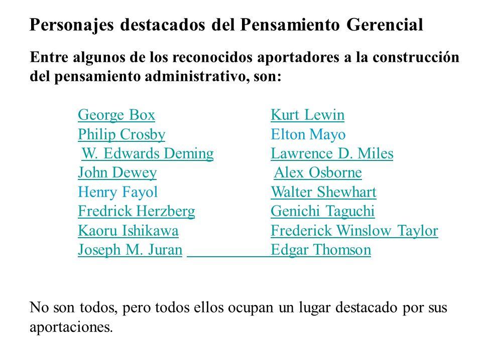 Personajes destacados del Pensamiento Gerencial Entre algunos de los reconocidos aportadores a la construcción del pensamiento administrativo, son: Ge