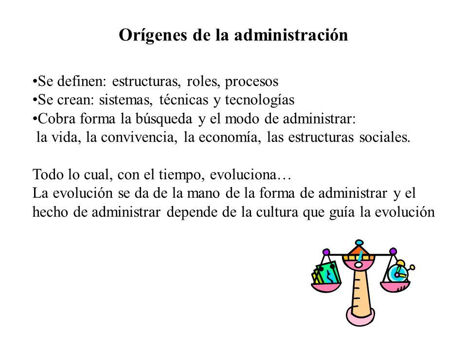Orígenes de la administración Se definen: estructuras, roles, procesos Se crean: sistemas, técnicas y tecnologías Cobra forma la búsqueda y el modo de