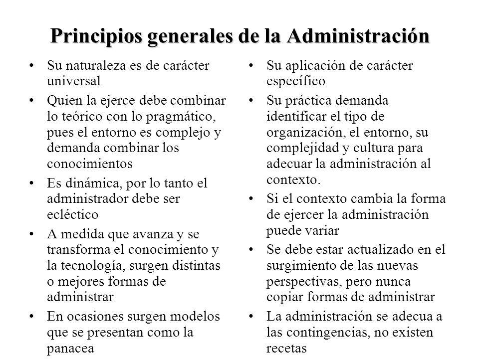 Principios generales de la Administración Su naturaleza es de carácter universal Quien la ejerce debe combinar lo teórico con lo pragmático, pues el e
