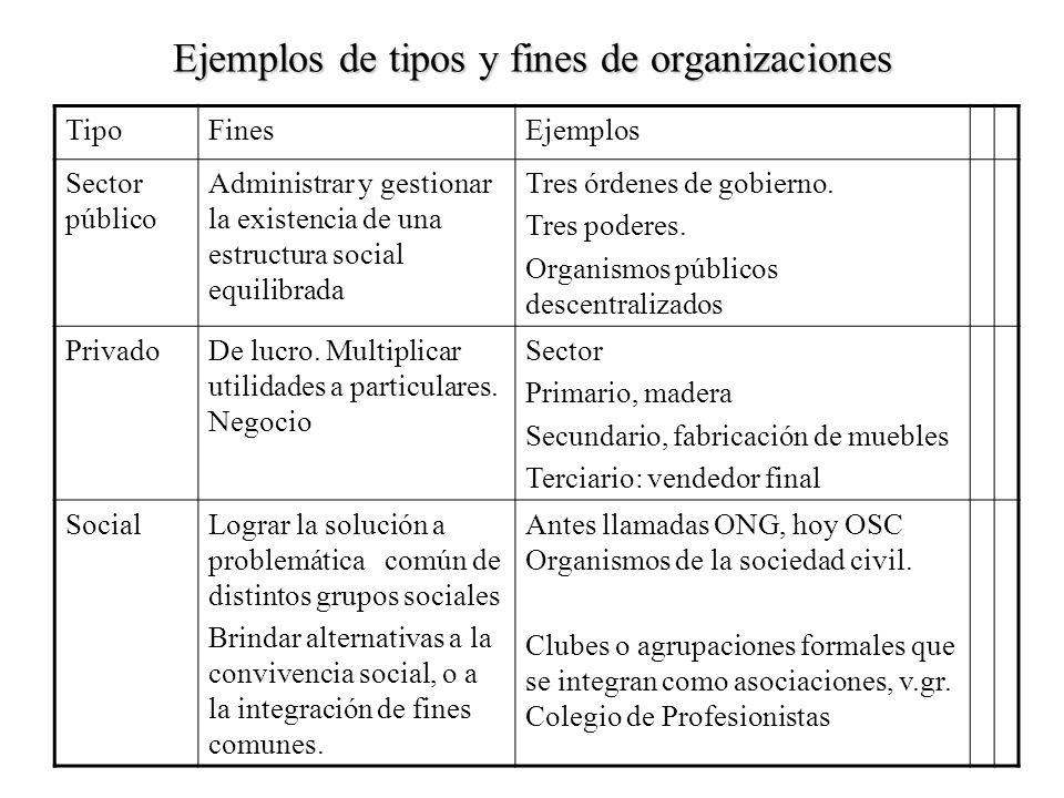 Ejemplos de tipos y fines de organizaciones TipoFinesEjemplos Sector público Administrar y gestionar la existencia de una estructura social equilibrad