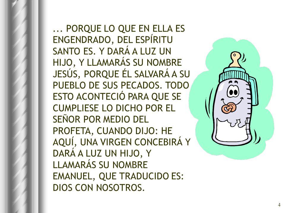 4... PORQUE LO QUE EN ELLA ES ENGENDRADO, DEL ESPÍRITU SANTO ES. Y DARÁ A LUZ UN HIJO, Y LLAMARÁS SU NOMBRE JESÚS, PORQUE ÉL SALVARÁ A SU PUEBLO DE SU