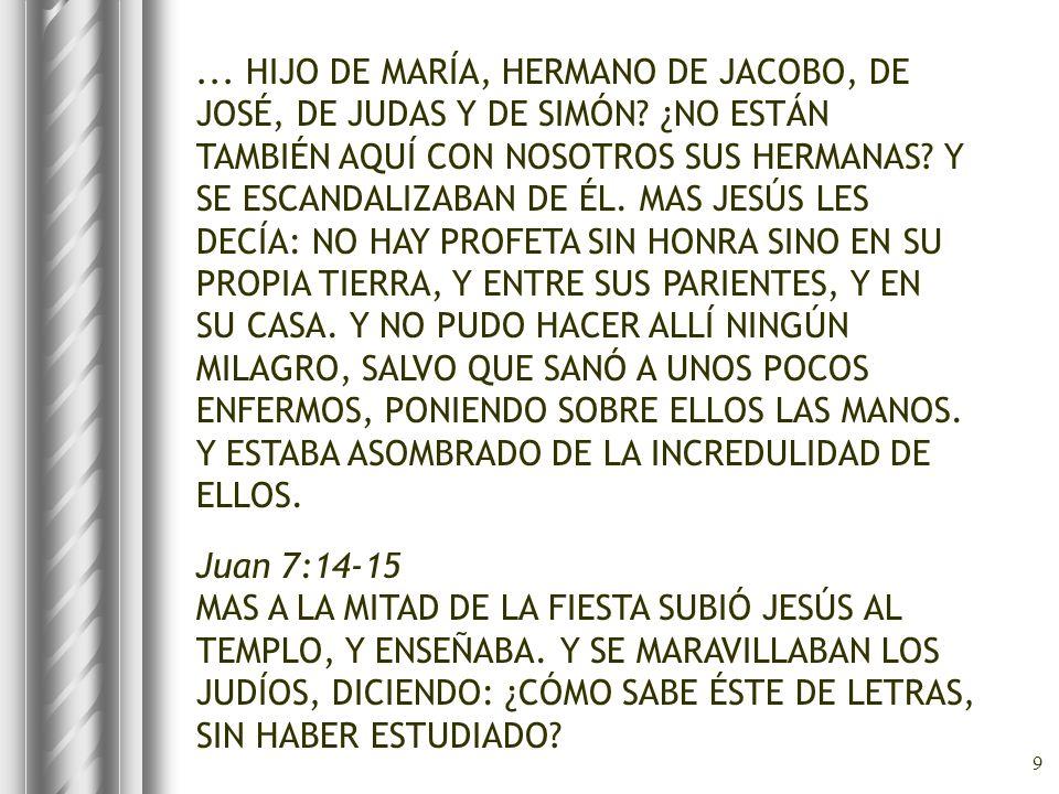9... HIJO DE MARÍA, HERMANO DE JACOBO, DE JOSÉ, DE JUDAS Y DE SIMÓN? ¿NO ESTÁN TAMBIÉN AQUÍ CON NOSOTROS SUS HERMANAS? Y SE ESCANDALIZABAN DE ÉL. MAS