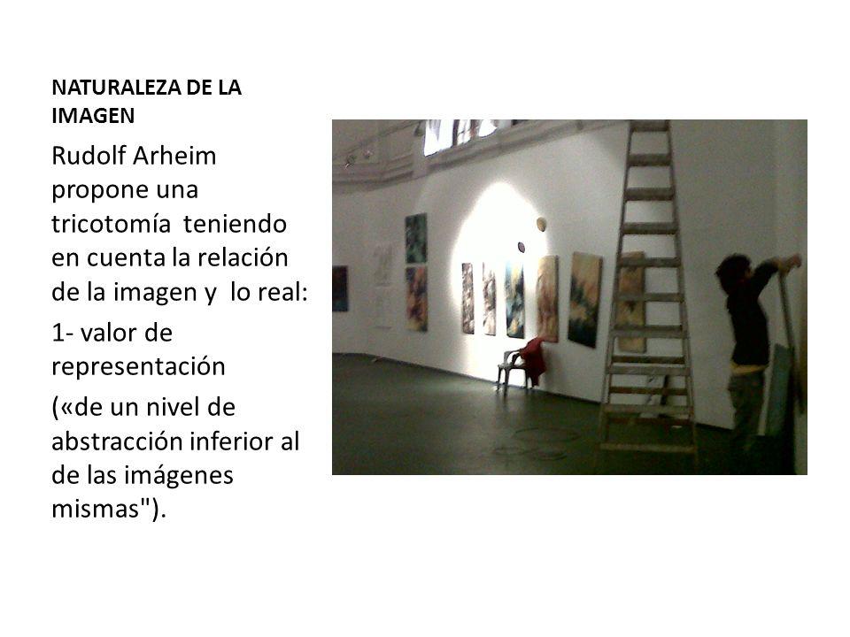 NATURALEZA DE LA IMAGEN Rudolf Arheim propone una tricotomía teniendo en cuenta la relación de la imagen y lo real: 1- valor de representación («de un