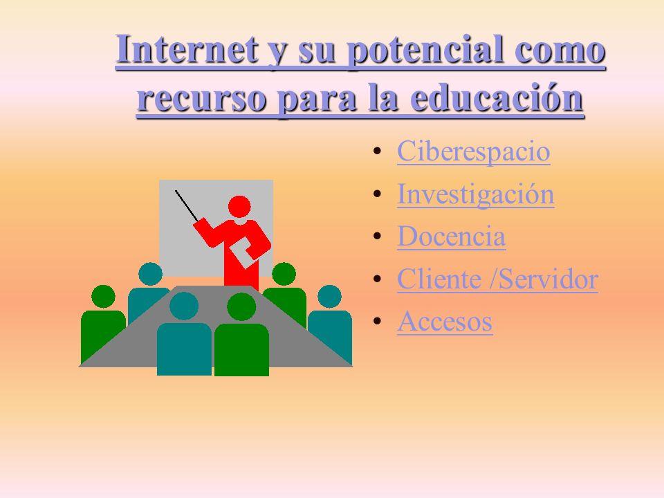 INTERNET Y SU POTENCIAL COMO RECURSO PARA LA EDUCACIÓN Grupo E: Morabito, Graciela Castillo, Silvia