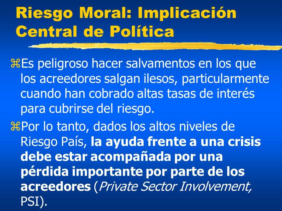 Riesgo Moral: Implicación Central de Política zEs peligroso hacer salvamentos en los que los acreedores salgan ilesos, particularmente cuando han cobr