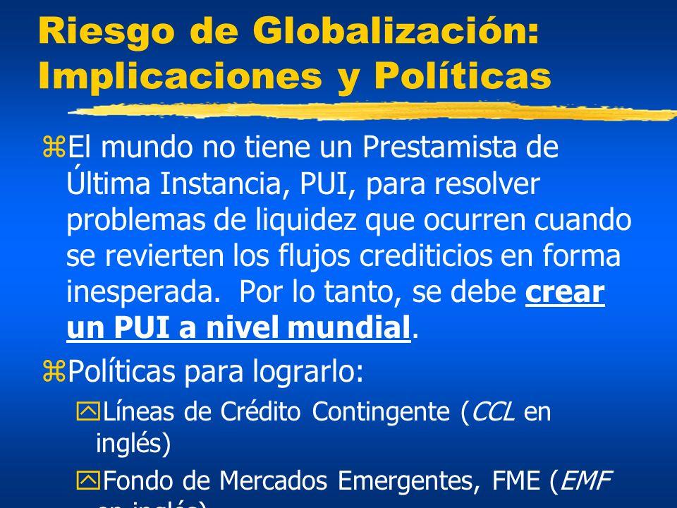 Riesgo de Globalización: Implicaciones y Políticas zEl mundo no tiene un Prestamista de Última Instancia, PUI, para resolver problemas de liquidez que