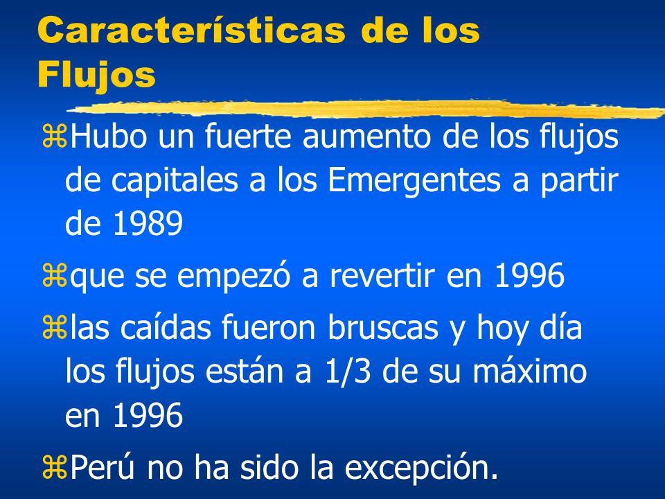 Características de los Flujos zHubo un fuerte aumento de los flujos de capitales a los Emergentes a partir de 1989 zque se empezó a revertir en 1996 z