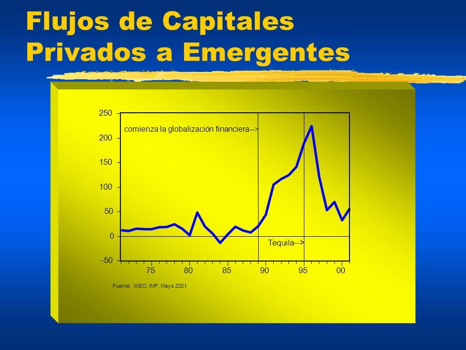 Flujos de Capitales Privados a Emergentes -50 0 50 100 150 200 250 758085909500 comienza la globalización financiera--> Fuente: WEO, IMF, Mayo 2001 Te