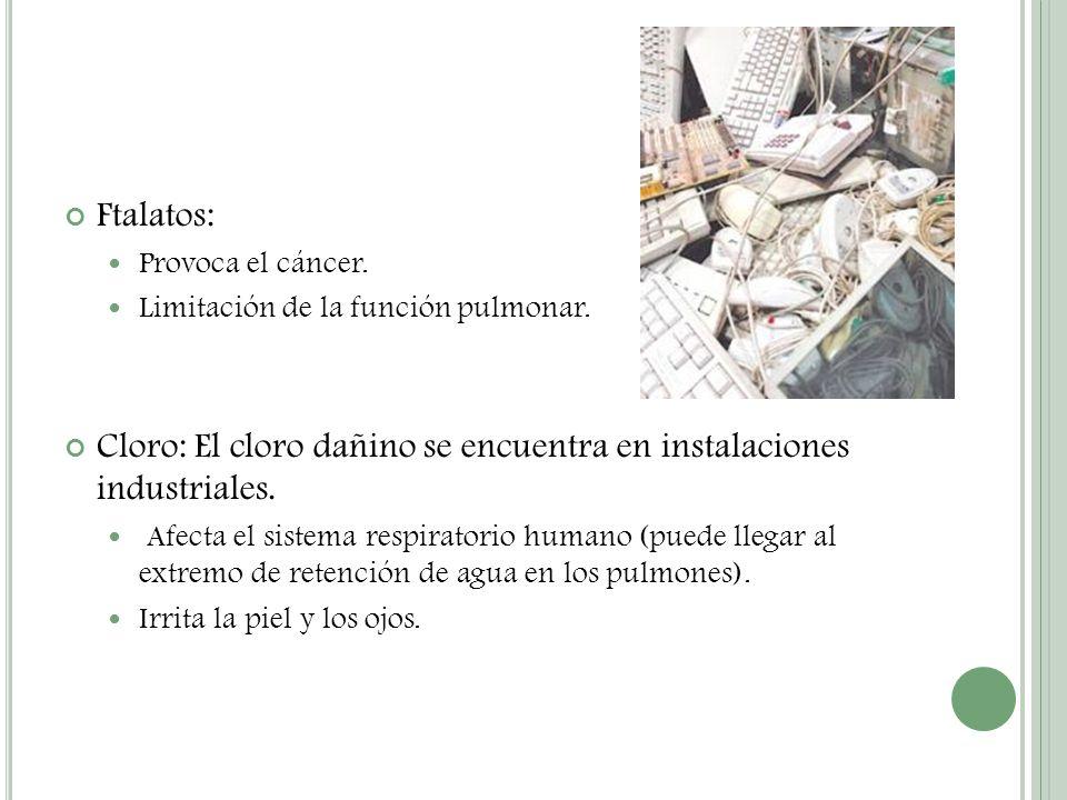 Ftalatos: Provoca el cáncer. Limitación de la función pulmonar. Cloro: El cloro dañino se encuentra en instalaciones industriales. Afecta el sistema r