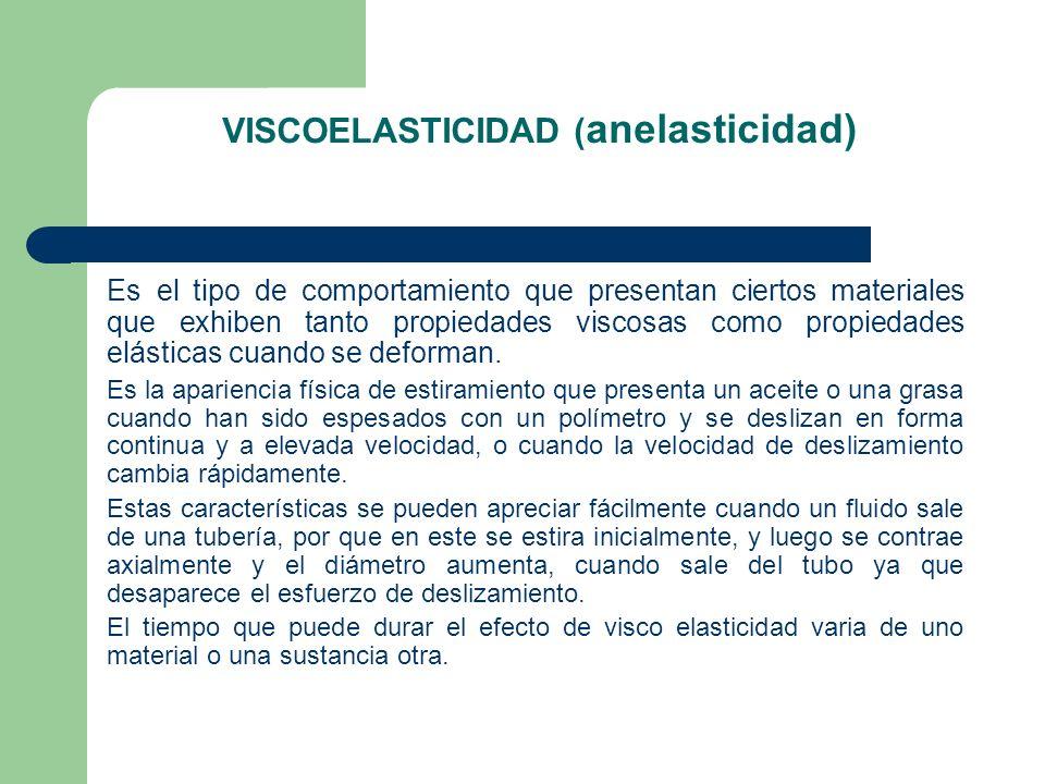 VISCOELASTICIDAD ( anelasticidad) Es el tipo de comportamiento que presentan ciertos materiales que exhiben tanto propiedades viscosas como propiedade