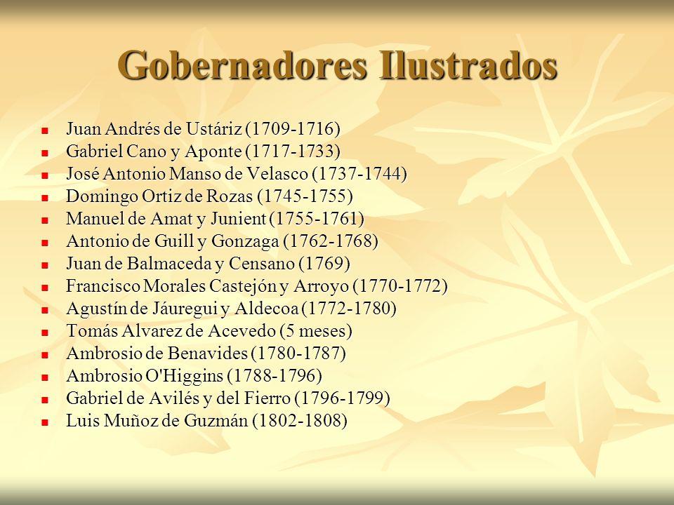 Gobernadores Ilustrados Juan Andrés de Ustáriz (1709-1716) Juan Andrés de Ustáriz (1709-1716) Gabriel Cano y Aponte (1717-1733) Gabriel Cano y Aponte