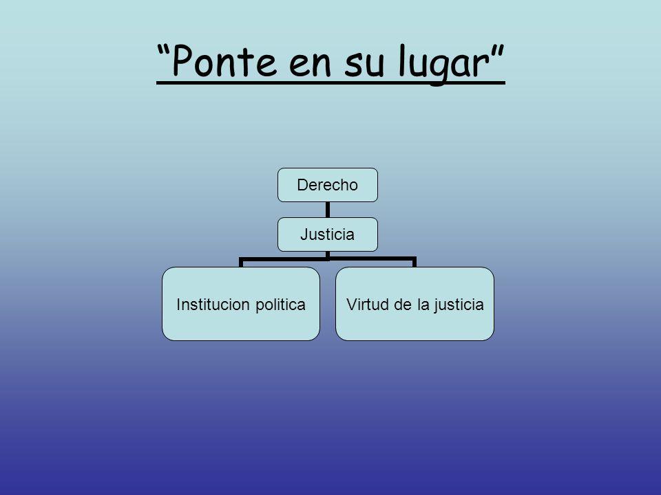 Ponte en su lugar Derecho Justicia Institucion politica Virtud de la justicia