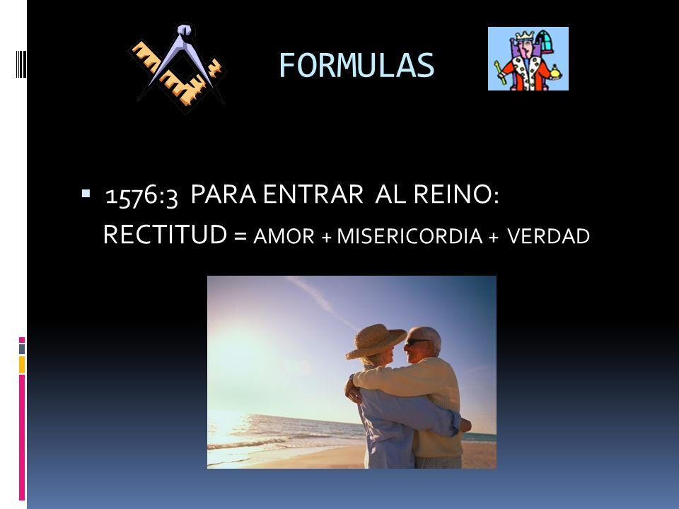 FORMULAS 1576:3 PARA ENTRAR AL REINO: RECTITUD = AMOR + MISERICORDIA + VERDAD