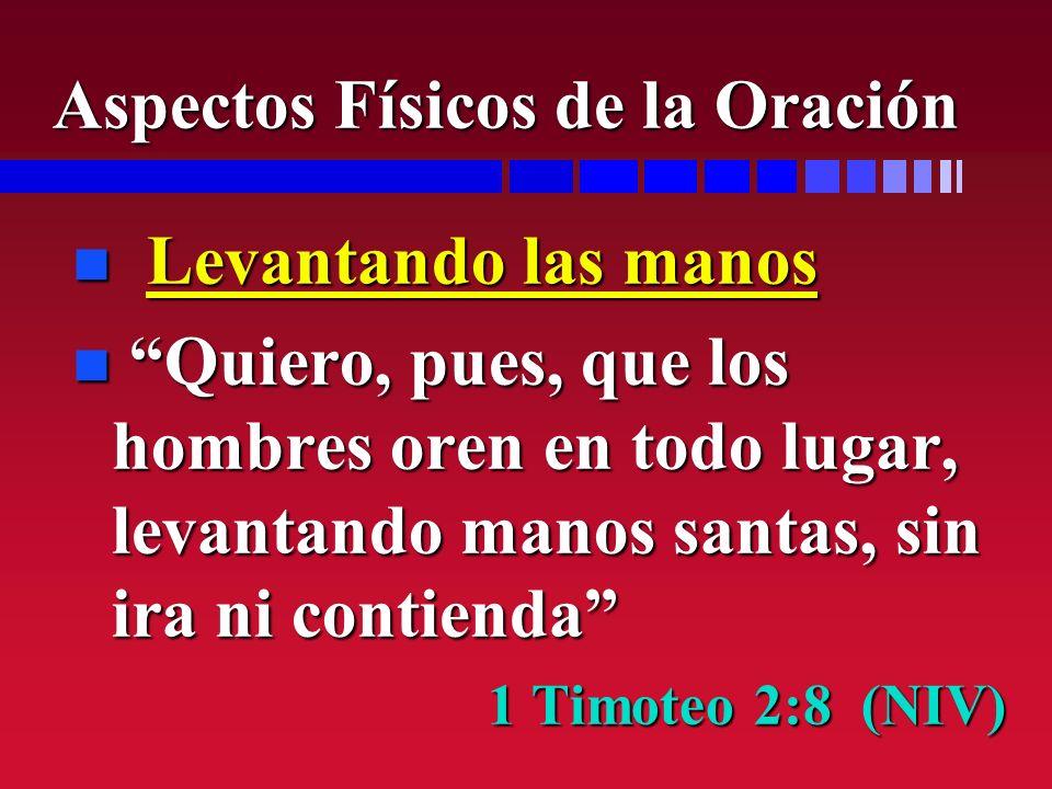 n Levantando las manos n Quiero, pues, que los hombres oren en todo lugar, levantando manos santas, sin ira ni contienda 1 Timoteo 2:8 (NIV) Aspectos