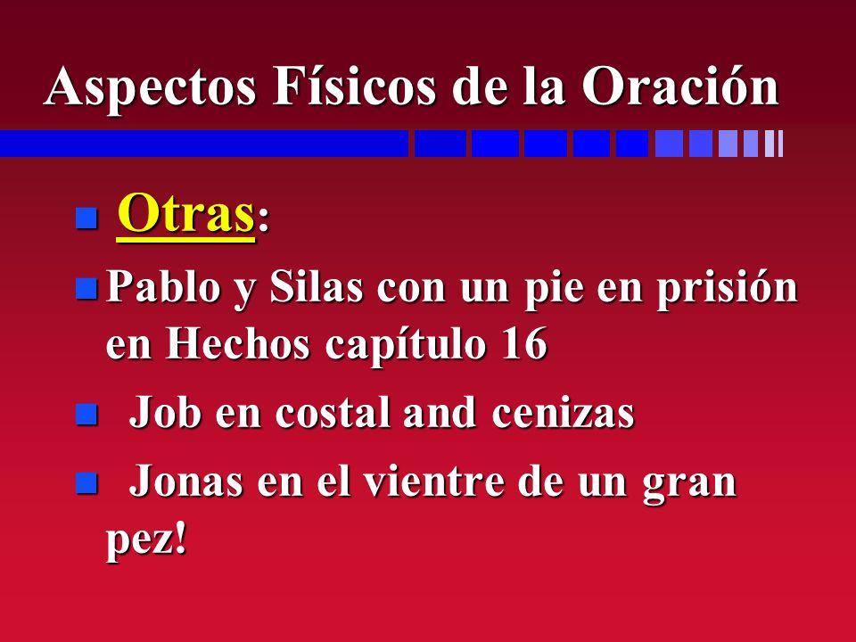 n Otras : n Pablo y Silas con un pie en prisión en Hechos capítulo 16 n Job en costal and cenizas n Jonas en el vientre de un gran pez! Aspectos Físic