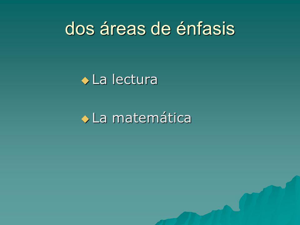 dos áreas de énfasis La lectura La lectura La matemática La matemática