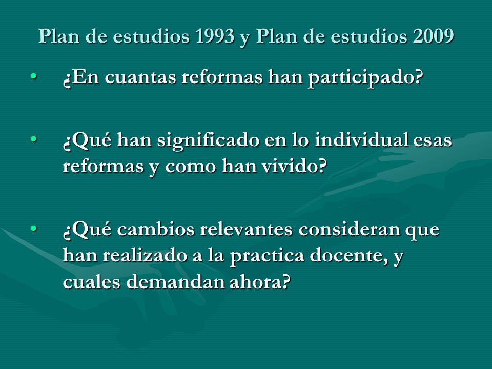 Plan de estudios 1993 y Plan de estudios 2009 ¿En cuantas reformas han participado?¿En cuantas reformas han participado? ¿Qué han significado en lo in