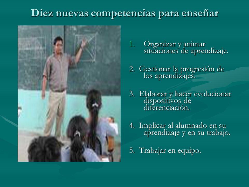 Diez nuevas competencias para enseñar 1.Organizar y animar situaciones de aprendizaje. 1.Organizar y animar situaciones de aprendizaje. 2. Gestionar l