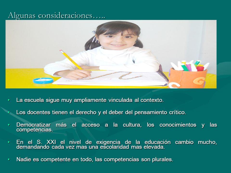 Algunas consideraciones….. La escuela sigue muy ampliamente vinculada al contexto.La escuela sigue muy ampliamente vinculada al contexto. Los docentes