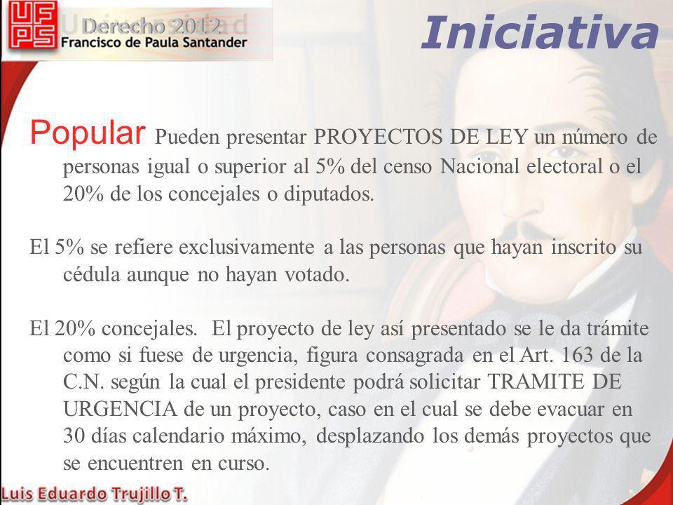 Iniciativa Popular Pueden presentar PROYECTOS DE LEY un número de personas igual o superior al 5% del censo Nacional electoral o el 20% de los conceja