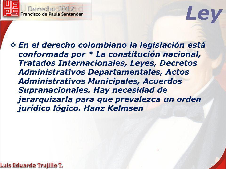 Ley En el derecho colombiano la legislación está conformada por * La constitución nacional, Tratados Internacionales, Leyes, Decretos Administrativos
