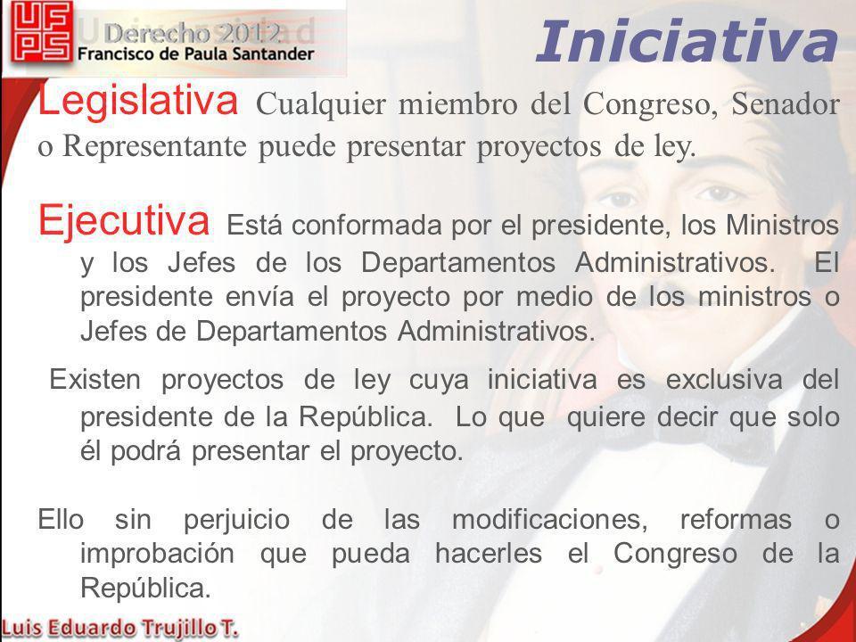 Iniciativa Legislativa Cualquier miembro del Congreso, Senador o Representante puede presentar proyectos de ley. Ejecutiva Está conformada por el pres