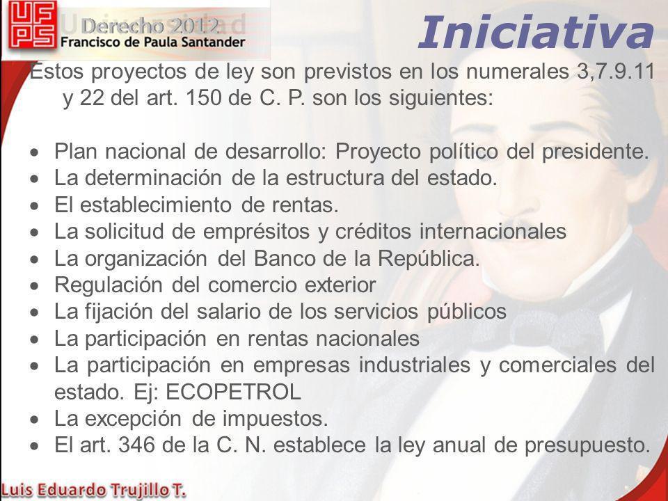 Iniciativa Popular Pueden presentar PROYECTOS DE LEY un número de personas igual o superior al 5% del censo Nacional electoral o el 20% de los concejales o diputados.