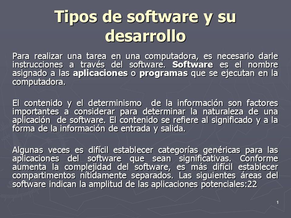 1 Tipos de software y su desarrollo Para realizar una tarea en una computadora, es necesario darle instrucciones a través del software. Software es el