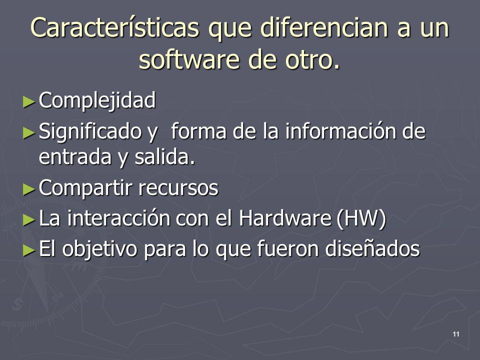 11 Características que diferencian a un software de otro. Complejidad Complejidad Significado y forma de la información de entrada y salida. Significa