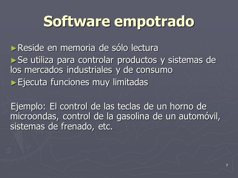 7 Software empotrado Reside en memoria de sólo lectura Reside en memoria de sólo lectura Se utiliza para controlar productos y sistemas de los mercado