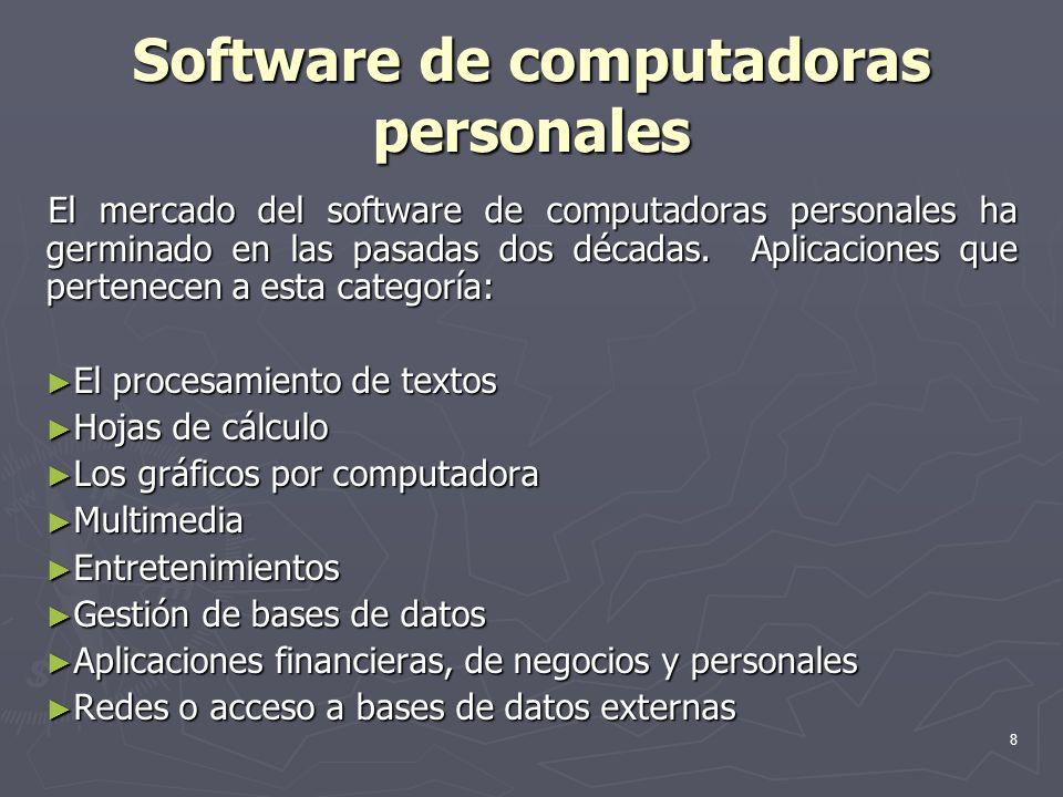 8 Software de computadoras personales El mercado del software de computadoras personales ha germinado en las pasadas dos décadas. Aplicaciones que per