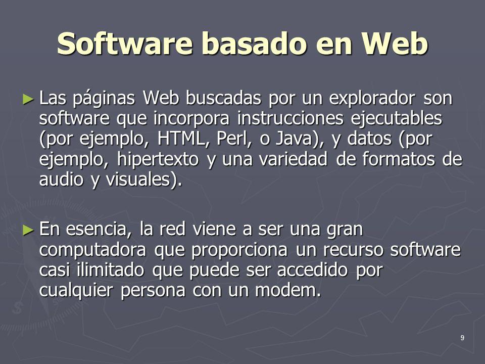 9 Software basado en Web Las páginas Web buscadas por un explorador son software que incorpora instrucciones ejecutables (por ejemplo, HTML, Perl, o J