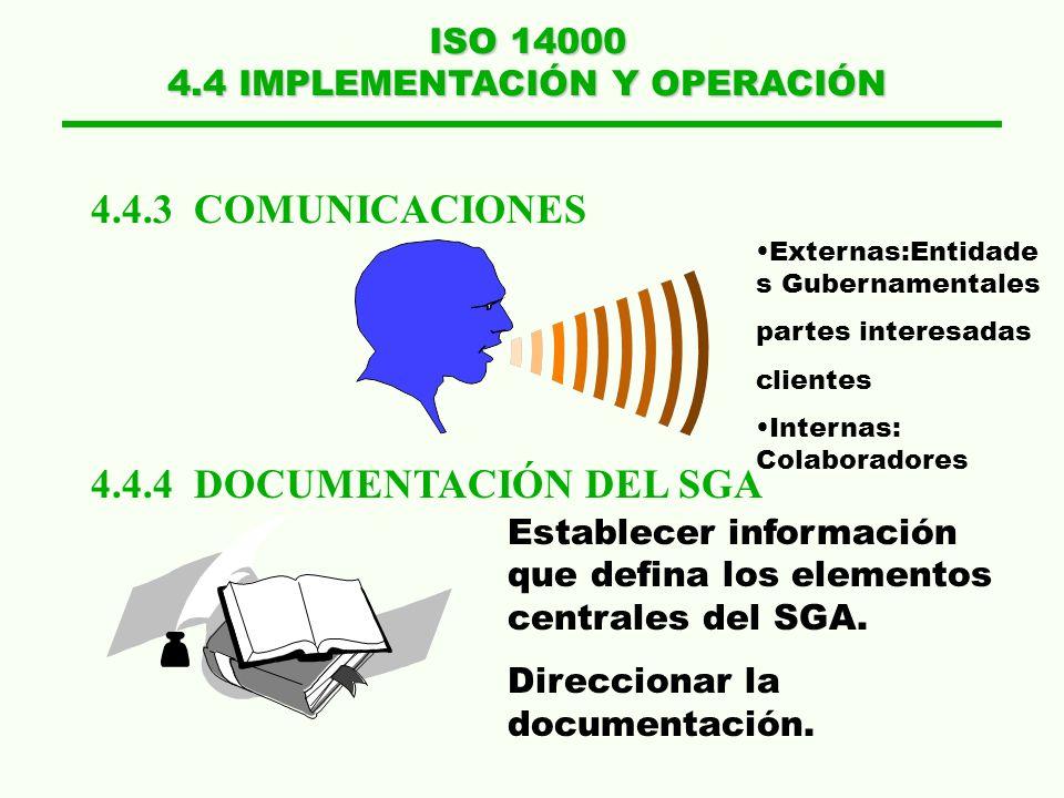 ISO 14000 4.4 IMPLEMENTACIÓN Y OPERACIÓN 4.4.1 ESTRUCTURA Y RESPONSABILIDADES 4.4.2 ENTRENAMIENTO, CONOCIMIENTO Y COMPETENCIA JUNTA DIRECTIVA POLITICA