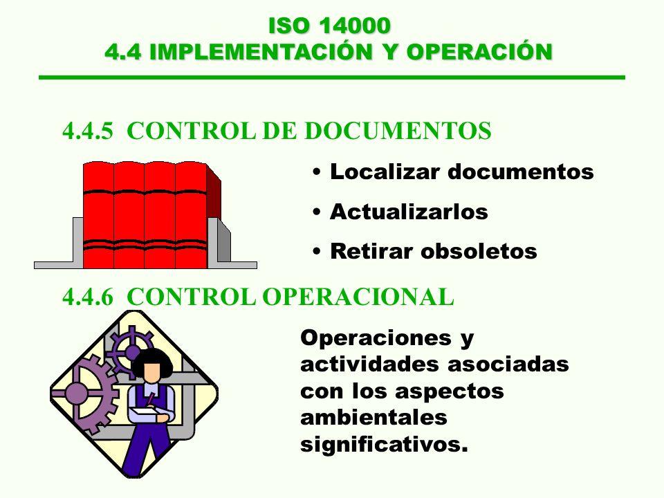 ISO 14000 4.4 IMPLEMENTACIÓN Y OPERACIÓN 4.4.3 COMUNICACIONES 4.4.4 DOCUMENTACIÓN DEL SGA Externas:Entidade s Gubernamentales partes interesadas clien