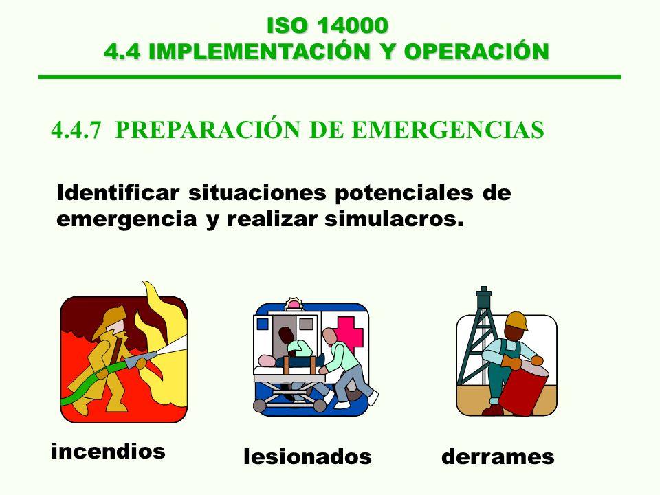 ISO 14000 4.4 IMPLEMENTACIÓN Y OPERACIÓN 4.4.5 CONTROL DE DOCUMENTOS 4.4.6 CONTROL OPERACIONAL Localizar documentos Actualizarlos Retirar obsoletos Op