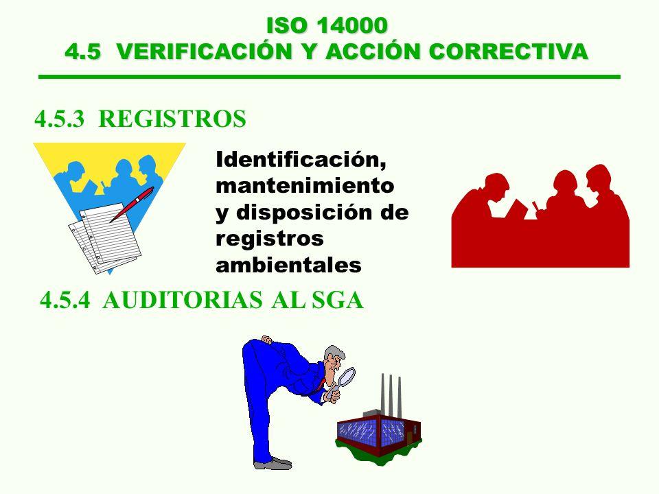 ISO 14000 4.5 VERIFICACIÓN Y ACCIÓN CORRECTIVA 4.5.1 MONITOREO Y MEDICIÓN 4.5.2 NO CONFORMIDAD, ACCIÓN CORRECTIVA Y PREVENTIVA Características claves