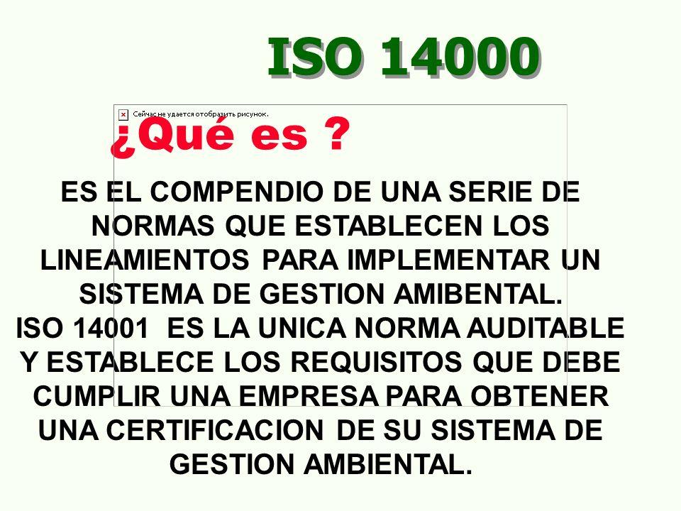 ISO 14000 4.5 VERIFICACIÓN Y ACCIÓN CORRECTIVA 4.5.3 REGISTROS 4.5.4 AUDITORIAS AL SGA Identificación, mantenimiento y disposición de registros ambientales