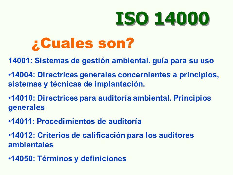 PLANEAR Aspectos ambientales Requisitos legales Objetivos y metas Programa de G:A IMPLEMENTAR Estructura, responsabilidad Capacitación Comunicaciones Documentación del SGA Control de documentos Control operacional Preparación a emergencias VERIFICAR Supervisión/medición, Monitoreo Acción correctiva/preventiva Registros Auditorías ACTUAR/MEJORAR Revisión Gerencial MEJORAMIENTO CONTINUO APLICADO EN ISO 14000 (PHVA).