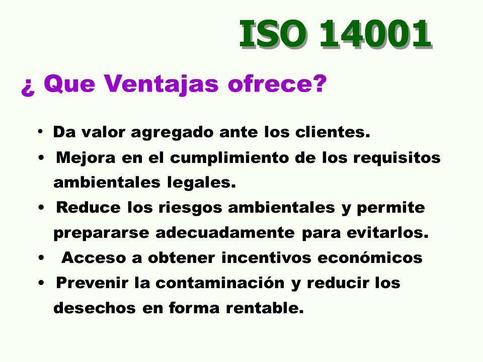 ISO 14001 ¿ Que Ventajas ofrece.Da valor agregado ante los clientes.