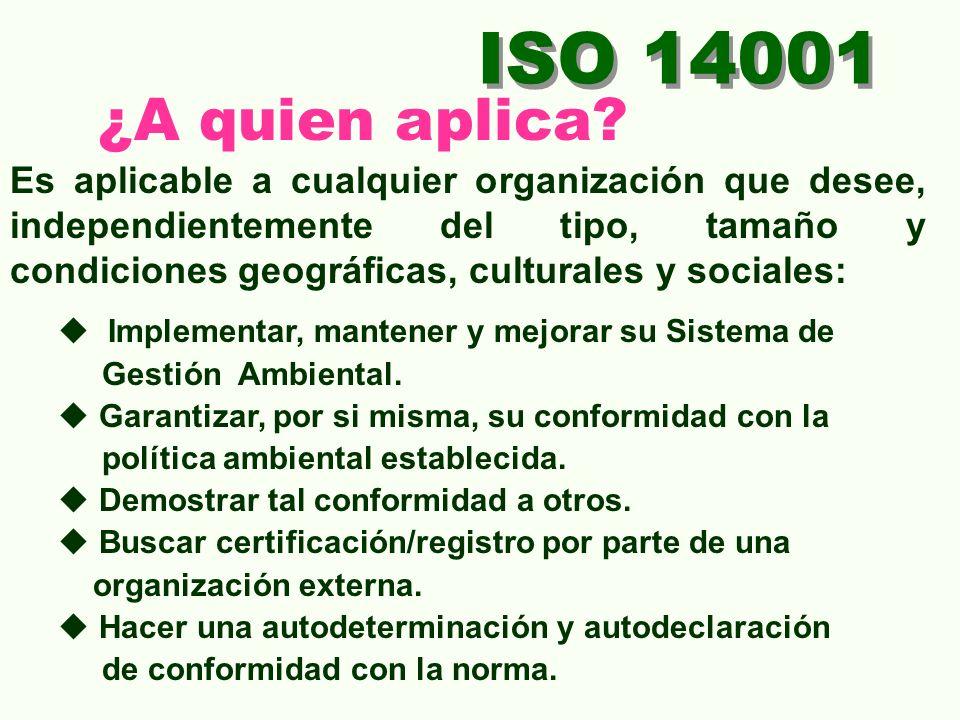 ISO 14001 ¿ Que Ventajas ofrece? Da valor agregado ante los clientes. Mejora en el cumplimiento de los requisitos ambientales legales. Reduce los ries