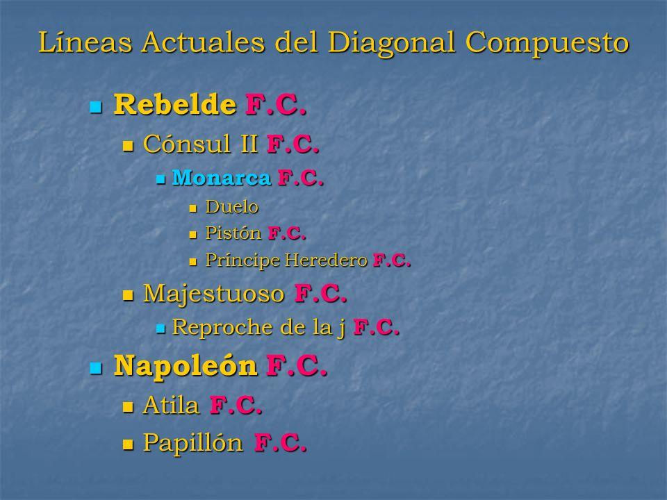 Líneas Actuales del Diagonal Compuesto Rebelde F.C. Rebelde F.C. Cónsul II F.C. Cónsul II F.C. Monarca F.C. Monarca F.C. Duelo Duelo Pistón F.C. Pistó