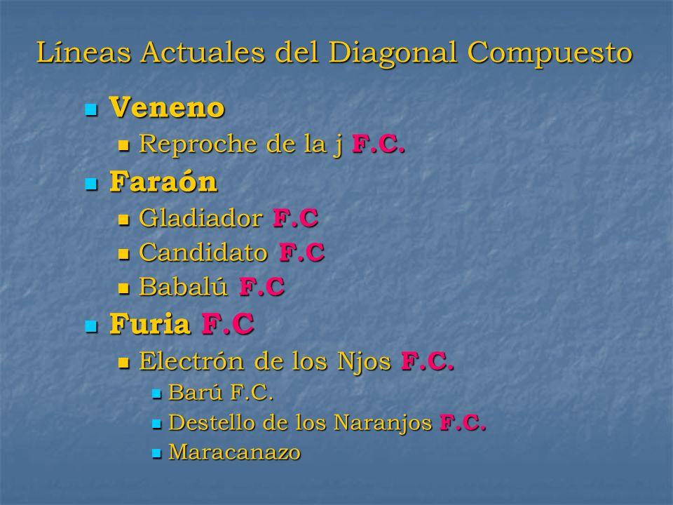 Líneas Actuales del Diagonal Compuesto Veneno Veneno Reproche de la j F.C. Reproche de la j F.C. Faraón Faraón Gladiador F.C Gladiador F.C Candidato F