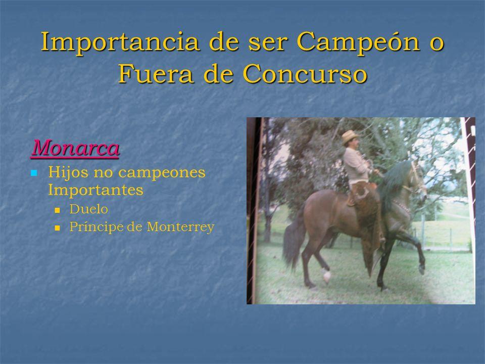Importancia de ser Campeón o Fuera de Concurso Monarca Hijos no campeones Importantes Duelo Príncipe de Monterrey
