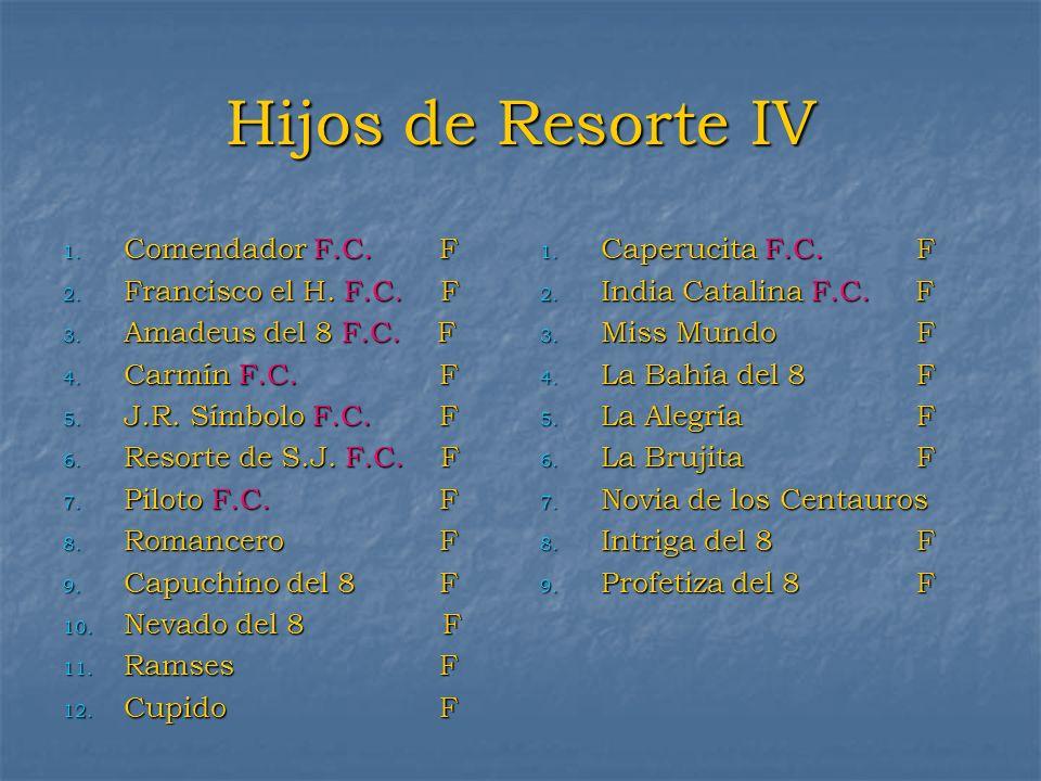 Hijos de Resorte IV 1. Comendador F.C. F 2. Francisco el H. F.C. F 3. Amadeus del 8 F.C. F 4. Carmín F.C. F 5. J.R. Símbolo F.C. F 6. Resorte de S.J.