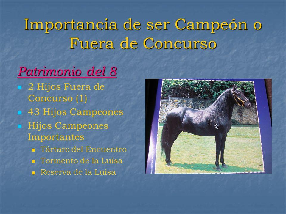 Importancia de ser Campeón o Fuera de Concurso Patrimonio del 8 2 Hijos Fuera de Concurso (1) 43 Hijos Campeones Hijos Campeones Importantes Tártaro d
