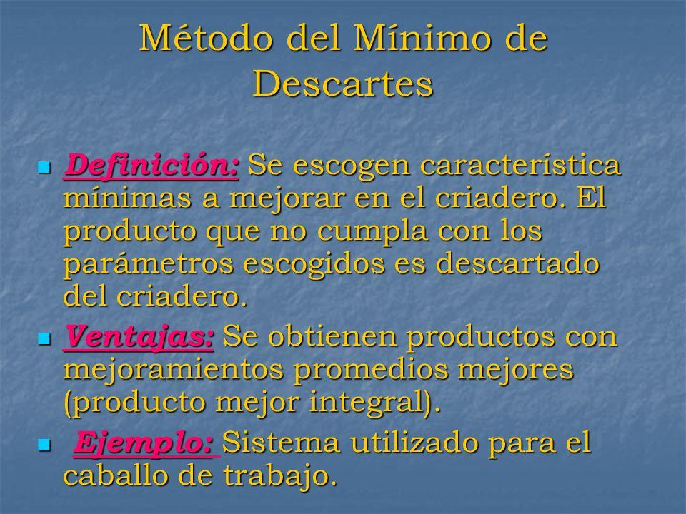 Método del Mínimo de Descartes Definición: Se escogen característica mínimas a mejorar en el criadero. El producto que no cumpla con los parámetros es